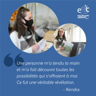 Kendra, stagiaire à l'E2C Champagne Ardenne de Troyes, embauchée à l'Atelier du Courrier – Témoignages